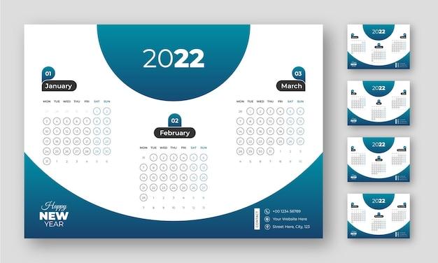 Kreatywny nowoczesny szablon kalendarza 3 miesiące na 1 stronie