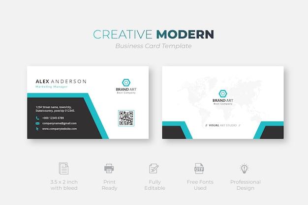 Kreatywny nowoczesny szablon wizytówki z niebieskimi i czarnymi detalami