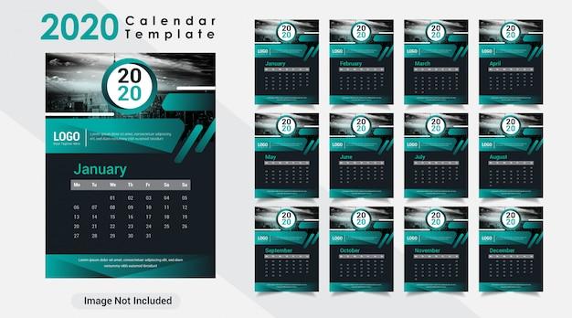 Kreatywny nowy rok 2020 nowoczesny kalendarz ścienny