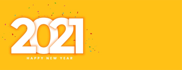 Kreatywny nowy rok 2021 z żółtym sztandarem konfetti