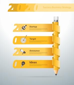 Kreatywny ołówek nowy rok 2020 projekt transparentu kalendarza,