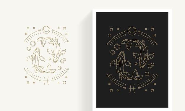 Kreatywny ozdobny elegancki liniowy astrologia znak zodiaku ryby szablon logo