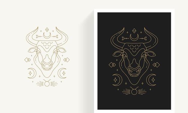 Kreatywny ozdobny elegancki liniowy astrologia zodiaku byk godło szablon logo