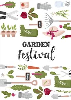 Kreatywny pionowy szablon ulotki lub plakatu z narzędziami ogrodniczymi i miejscem na tekst do ogrodu