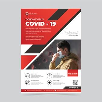 Kreatywny plakat covid-19 z przydatnymi informacjami