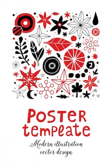 Kreatywny plakat szablon z kwiatami