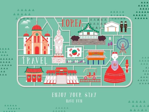Kreatywny plakat z korei południowej - zestaw zabawek z koreańskimi atrakcjami