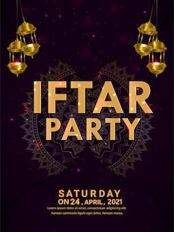 Kreatywny plakat z zaproszeniem na przyjęcie iftar z realistyczną złotą latarnią