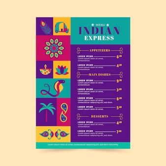 Kreatywny płaski indyjski szablon menu