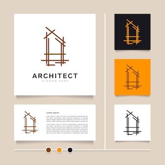 Kreatywny pomysł architekt logo projekt architektoniczny konstrukcja domu i projekt nieruchomości wektor