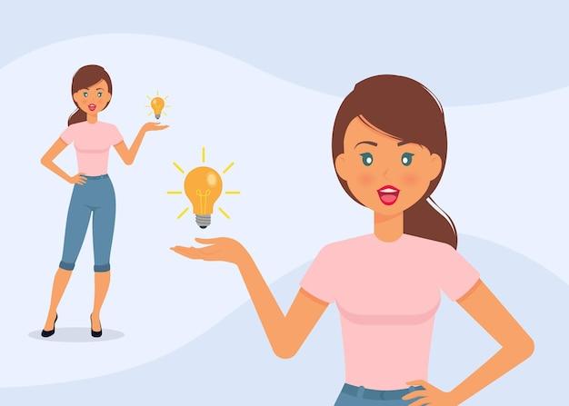 Kreatywny pomysł eureka ilustracja piękna kobieta postać ubrana w niebieskie dżinsy i różową koszulkę