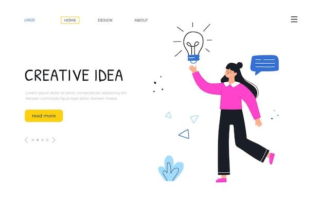 Kreatywny pomysł. kobieta z lampą w ręku. szablon strony docelowej. ręcznie rysowane ilustracji wektorowych.