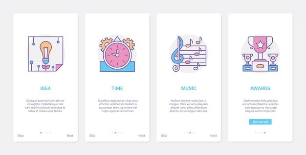 Kreatywny pomysł na sztukę muzyczną technologię kreatywności zestaw ekranu strony aplikacji mobilnej ux ui