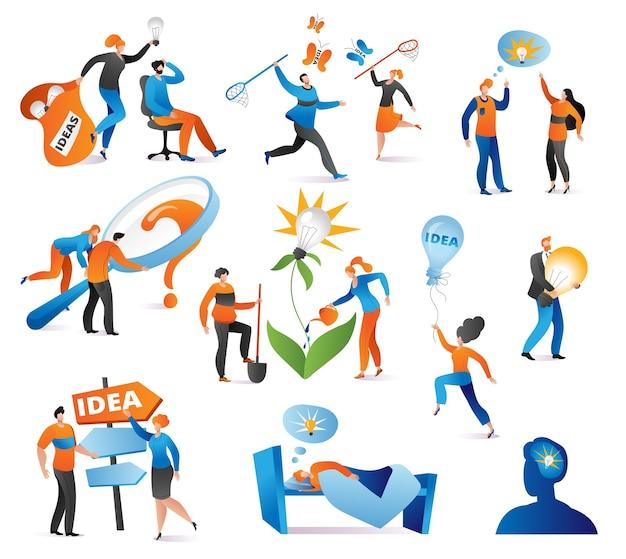 Kreatywny pomysł znaków w biznesie zestaw ilustracji. bizneswoman z żarówką. kreatywny pomysł i koncepcja przywództwa. poszukiwanie, innowacja i kreatywność. burza mózgów, rozwiązanie.