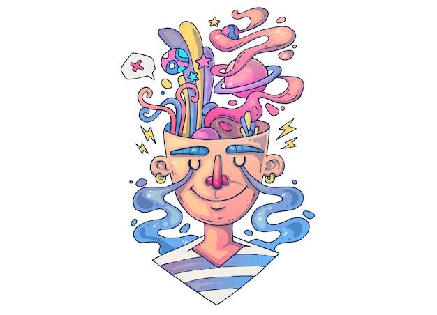 Kreatywny portret, twarz młodego faceta. ilustracja kreatywnych kreskówek.