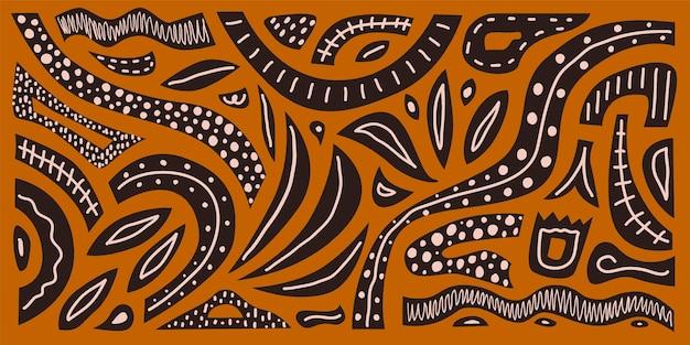 Kreatywny poziomy abstrakcyjny ręcznie rysowane wzór na tle terakoty nowoczesny nadruk wektorowy