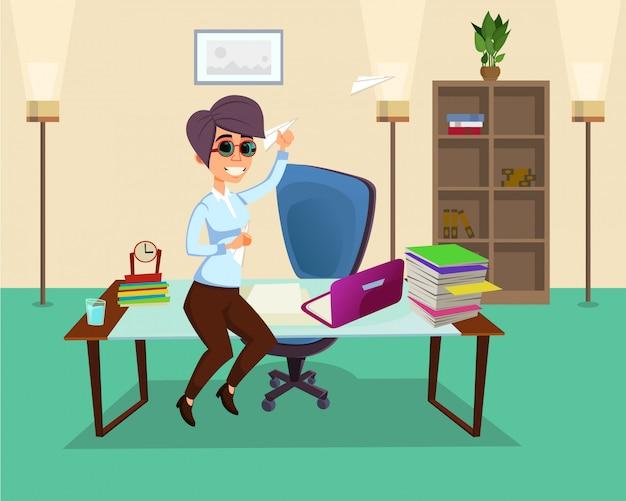 Kreatywny pracownik biurowy żeński charakter w biurze.