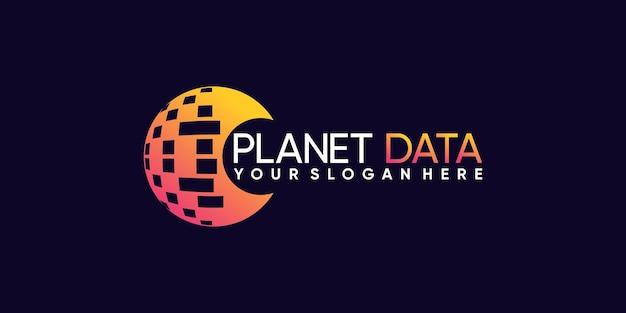 Kreatywny projekt globalnego logo planety dla technologii danych z koncepcją koła premium wektorów