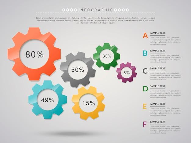 Kreatywny projekt infografiki z elementami koła zębatego