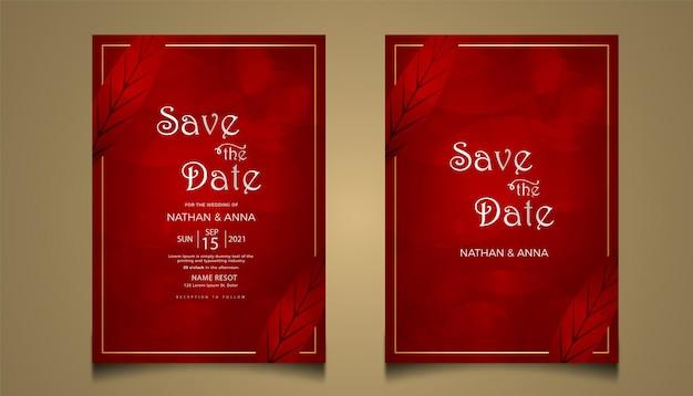 Kreatywny projekt karty zaproszenie na ślub z czerwoną linią
