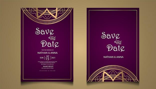 Kreatywny projekt karty zaproszenie na ślub ze złotą linią