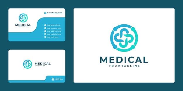 Kreatywny projekt logo apteki medycznej i wizytówka