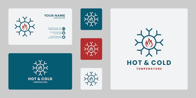 Kreatywny projekt logo na ciepło i zimno temperatura ikona ogień ze śniegiem