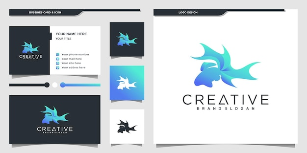 Kreatywny projekt logo ryb w luksusowym niebieskim stylu gradientu premium vektor