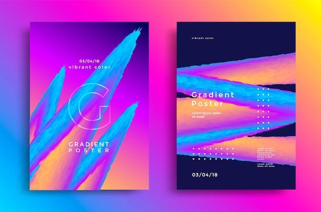 Kreatywny projekt plakatu z żywymi kształtami gradientów.