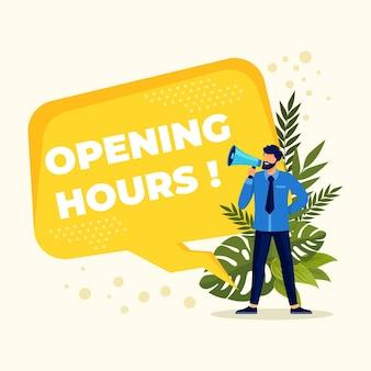 Kreatywny projekt płaski nowy znak godzin otwarcia