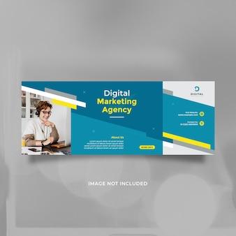 Kreatywny projekt szablonu agencji marketingu cyfrowego dla mediów społecznościowych i banera z niebieskim żółtym kolorem