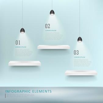 Kreatywny projekt szablonu infografiki z półkami wystawowymi