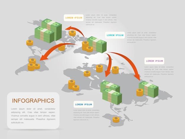 Kreatywny projekt szablonu infografiki z wykresem banknotów