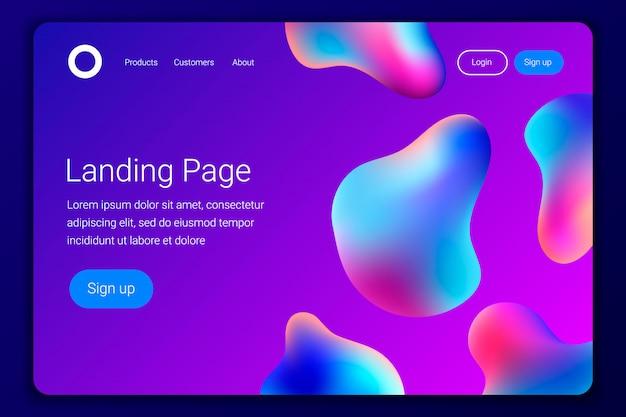 Kreatywny projekt z plastikowymi kształtami strony docelowej lub szablonu strony internetowej.
