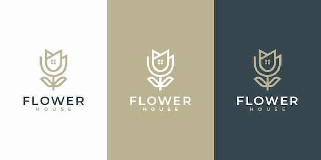 Kreatywny prosty symbol kwiatu z połączeniem projektu logo domu