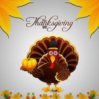 Kreatywny ptak z indyka na szczęśliwy dzień dziękczynienia w tle