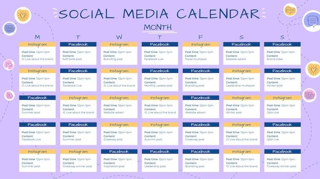 Kreatywny, ręcznie rysowane szablon kalendarza mediów społecznościowych