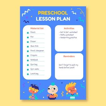 Kreatywny, ręcznie rysowane szablon planu lekcji w przedszkolu superbohatera