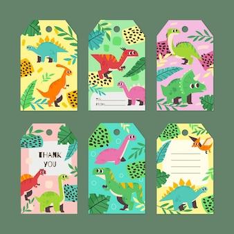 Kreatywny, ręcznie rysowany tag prezentowy dla zwierząt dinozaurów