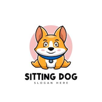 Kreatywny siedzący kreskówka doża shiba inu znak maskotka logo