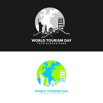 Kreatywny światowy dzień turystyki koncepcje projektowe ilustracje wektory