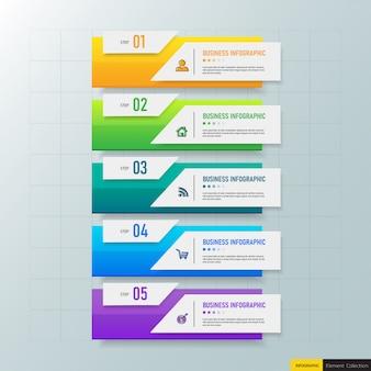 Kreatywny szablon 5 kroków infografiki