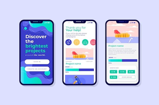 Kreatywny szablon aplikacji do finansowania społecznościowego