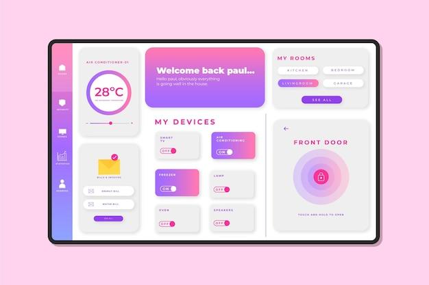 Kreatywny szablon aplikacji do zarządzania inteligentnym domem