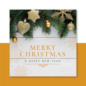 Kreatywny szablon kartki świąteczne z gałęzi drzew