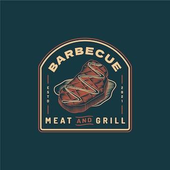 Kreatywny szablon logo grilla ze szczegółami