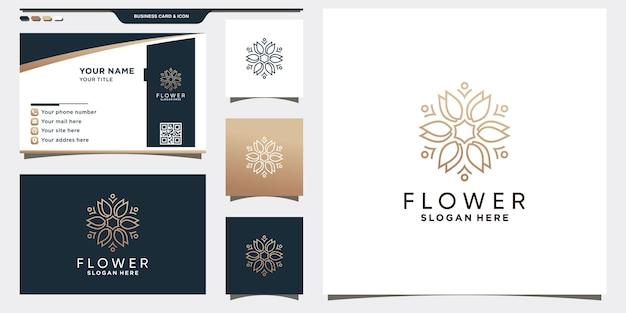 Kreatywny szablon logo kwiatu róży z liniowym stylem i projektem wizytówki