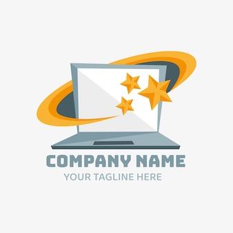 Kreatywny szablon logo laptopa o płaskiej konstrukcji