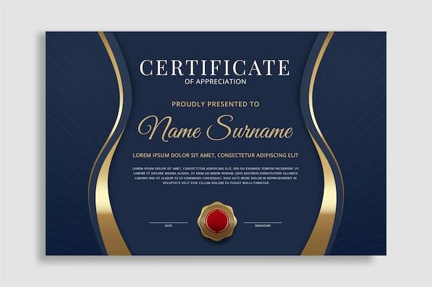 Kreatywny szablon nagrody uznania za certyfikat