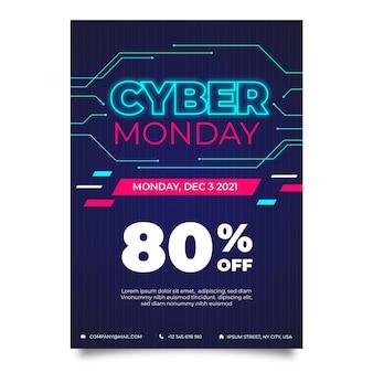 Kreatywny szablon plakatu cyber poniedziałek ze specjalną zniżką